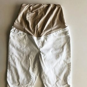 Isabel maternity white skinny jeans with nude band